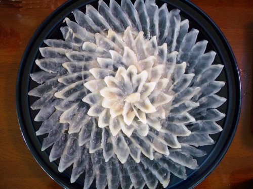 Fugu sashimi (photo from Wikipedia)