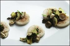 Bone marrow, chestnuts, tonburi, pickled honshimeji from WD50