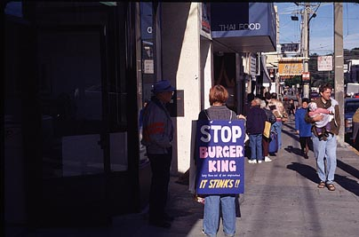 picketers in front of Burger Kin in Sunset District (SF)