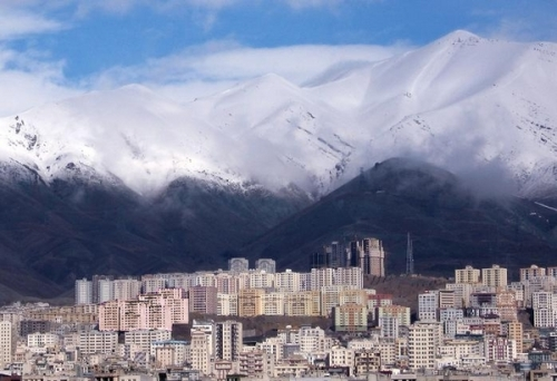 Tehran with mountains in the background