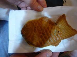 japanese fish shaped waffles filled with chocolate cream